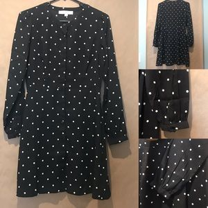 Loft short long sleeves black and white dress
